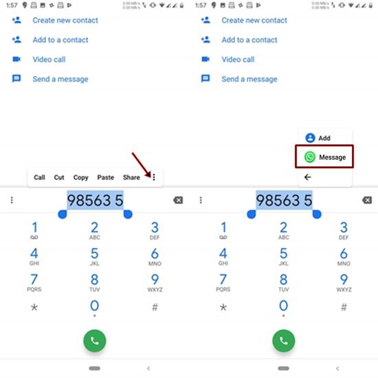 send whatsapp shortcut in dialer