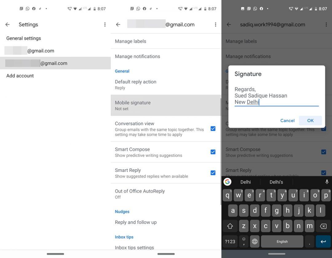Signatur Google Mail Android