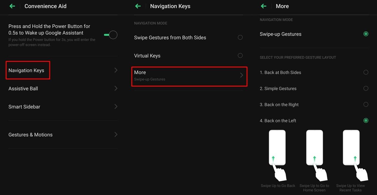 Einstellungen für Color OS Swipe-Gesten