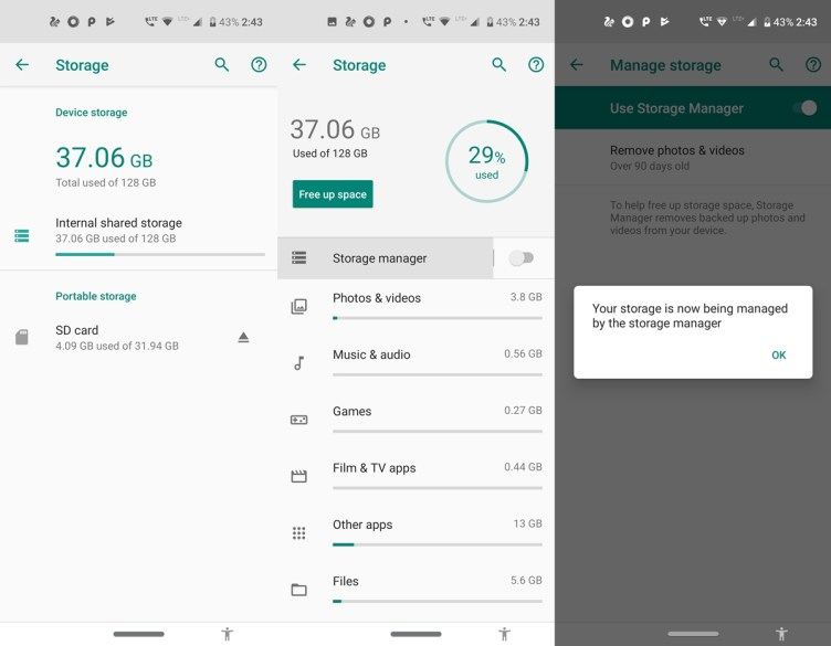 automation of free storage space on android