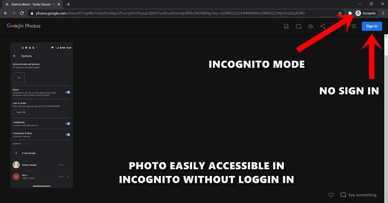 Google Fotos inkognito