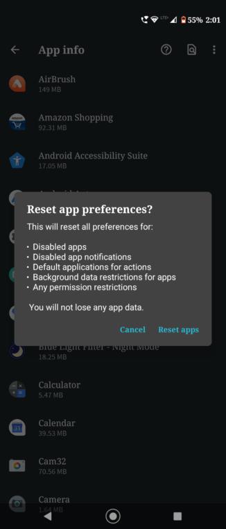 App-Präferenz zurücksetzen