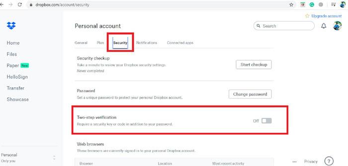 Aktivieren Sie die Zwei-Faktor-Authentifizierung für Dropbox