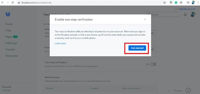 Zwei-Faktor-Authentifizierung Erste Schritte Dropbox