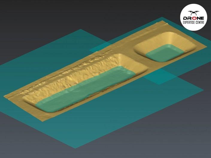 Modélisation 3D d'un déversoir d'orage : calcul du volume d'eau stocké, photogrammétrie par drone