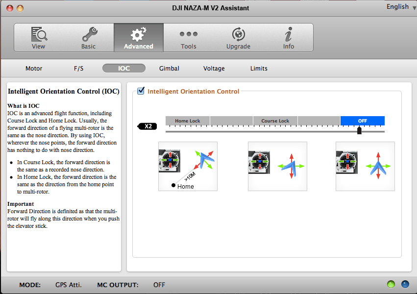 One of many screens in the DJI NAZA Assistant Software