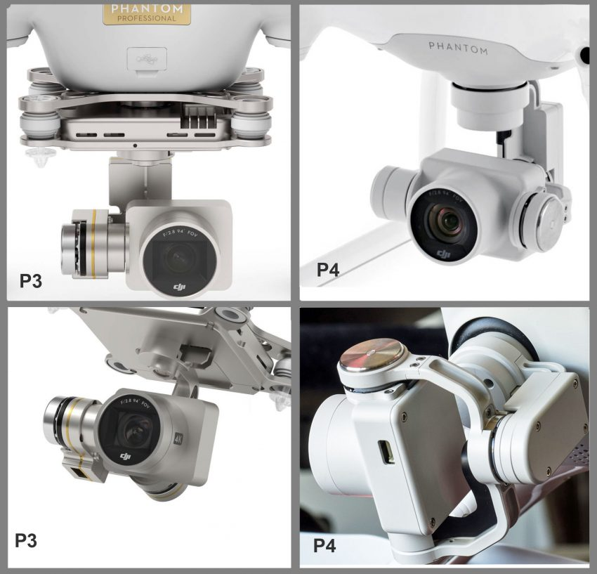 Phantom 3 (L) and Phantom 4 (R) Gimbals