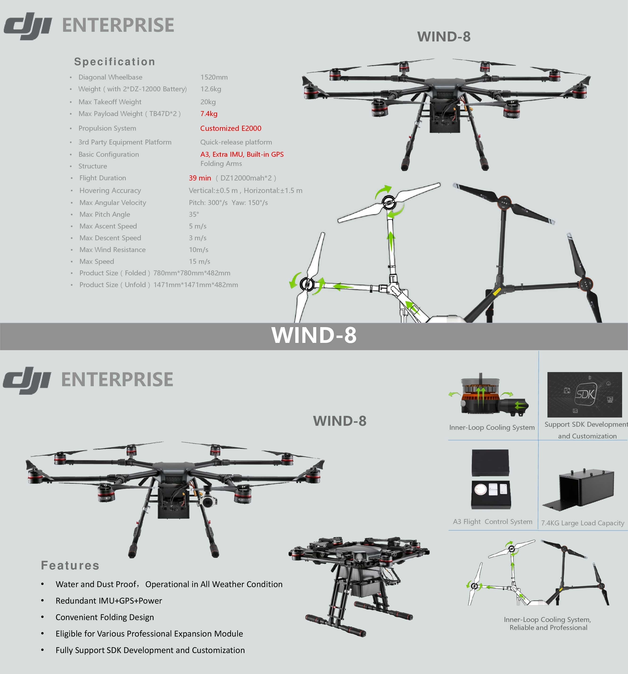 Buy Dji Wind 8 Industrial Octocopter Drone Ip56 Rain And