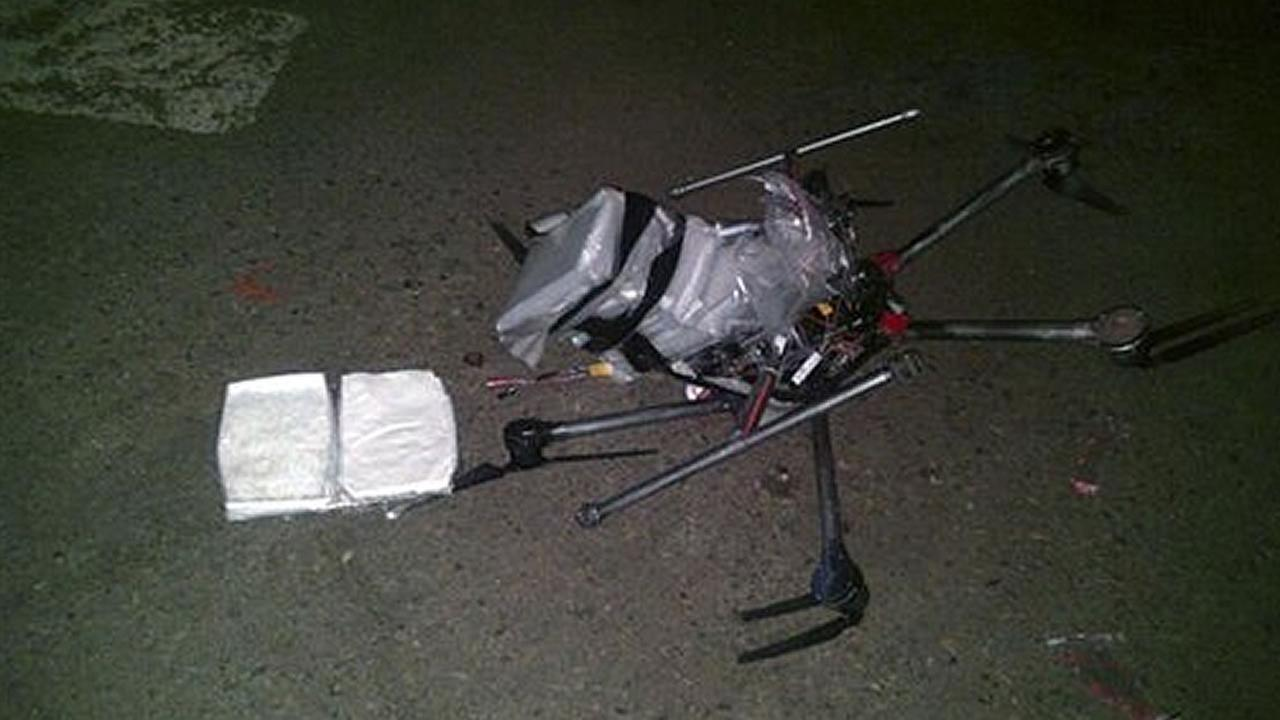 A drone packed with more than six pounds of meth crashed in Mexico near the California border Tuesday night. (Tijuana Public Safety Secretariat)