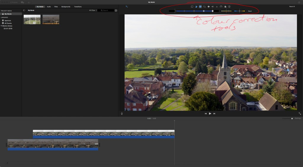 iMovie colouring