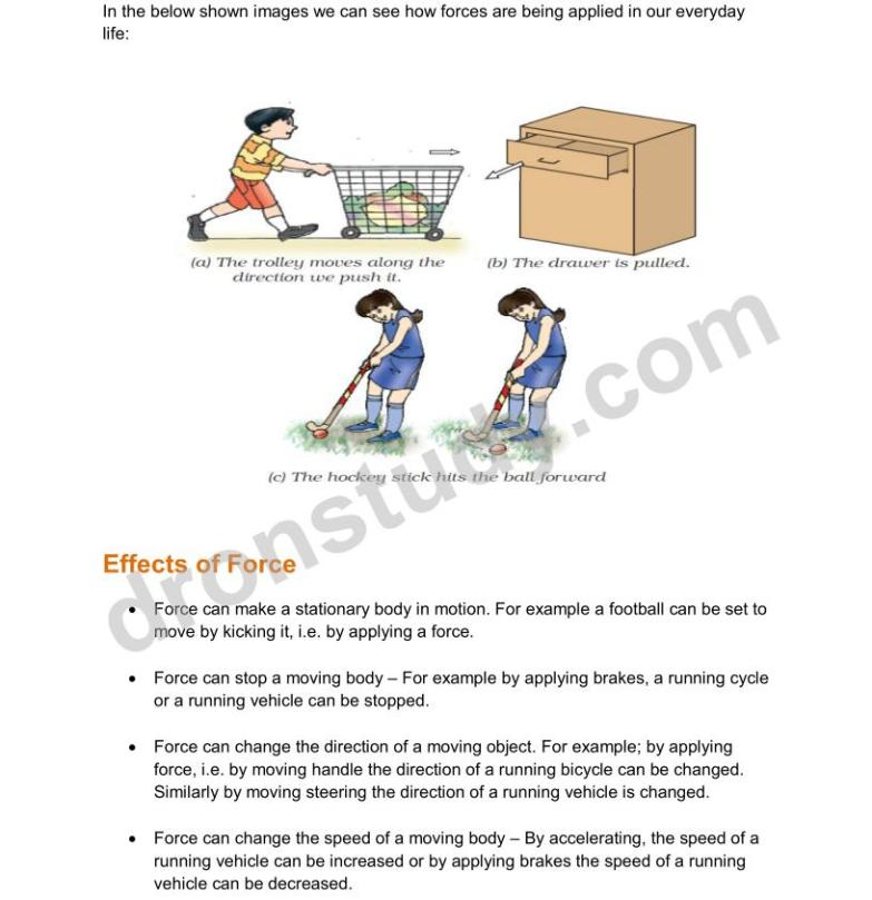 Force and Newtons Laws of Motion : Chapter Notes - DronStudy com