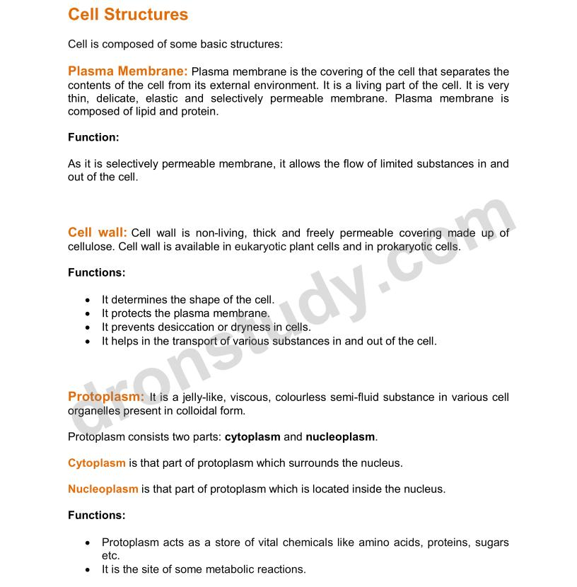 Cell - Fundamental Unit of Life : Chapter Notes - DronStudy com
