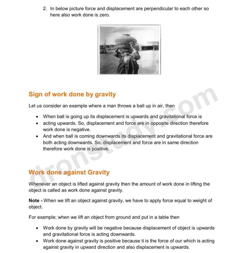 Work and Energy : Chapter Notes - DronStudy com