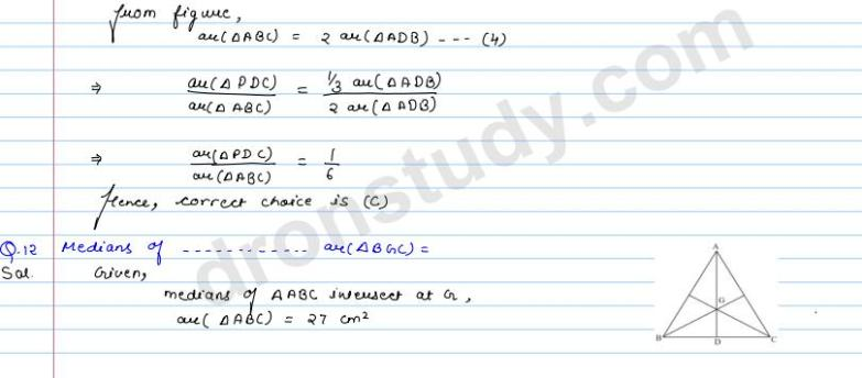 Areas Of Parallelograms And Triangles : MCQ Q 11 to Q 20 (R D Sharma