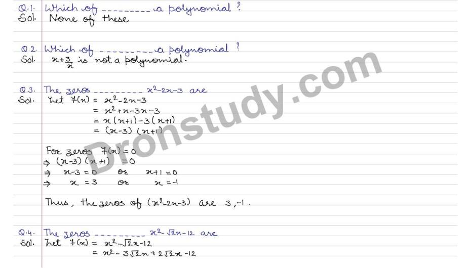 Polynomial : CCE - MCQ (R S Aggarwal) - DronStudy com