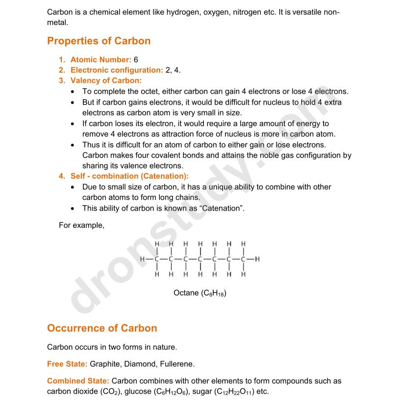 carbon and its compounds Unsaturated organic compounds: organic compounds in which a double or a triple bond exists between two carbon atoms in a carbon chain, are called unsaturated organic compounds 10 10 hydrocarbons : organic compounds which contain only carbon and hydrogen atoms are called hydrocarbons.