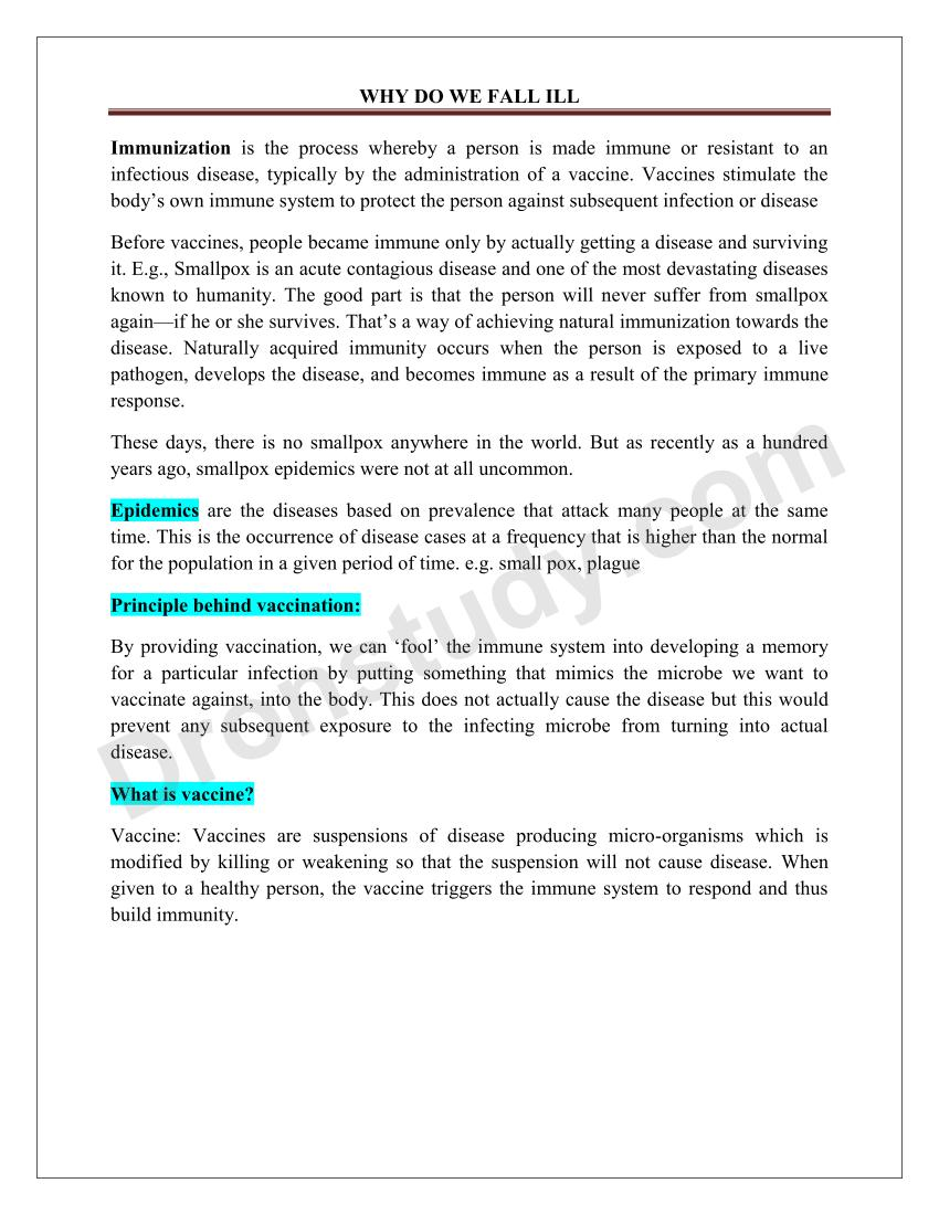 Why do We Fall Ill : Chapter Notes - DronStudy com