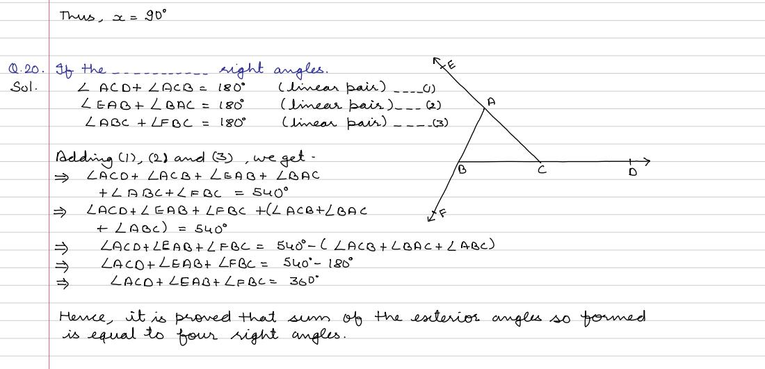 Angles, Lines and Triangles : Ex 4D Q 13 to Q 26 (R S