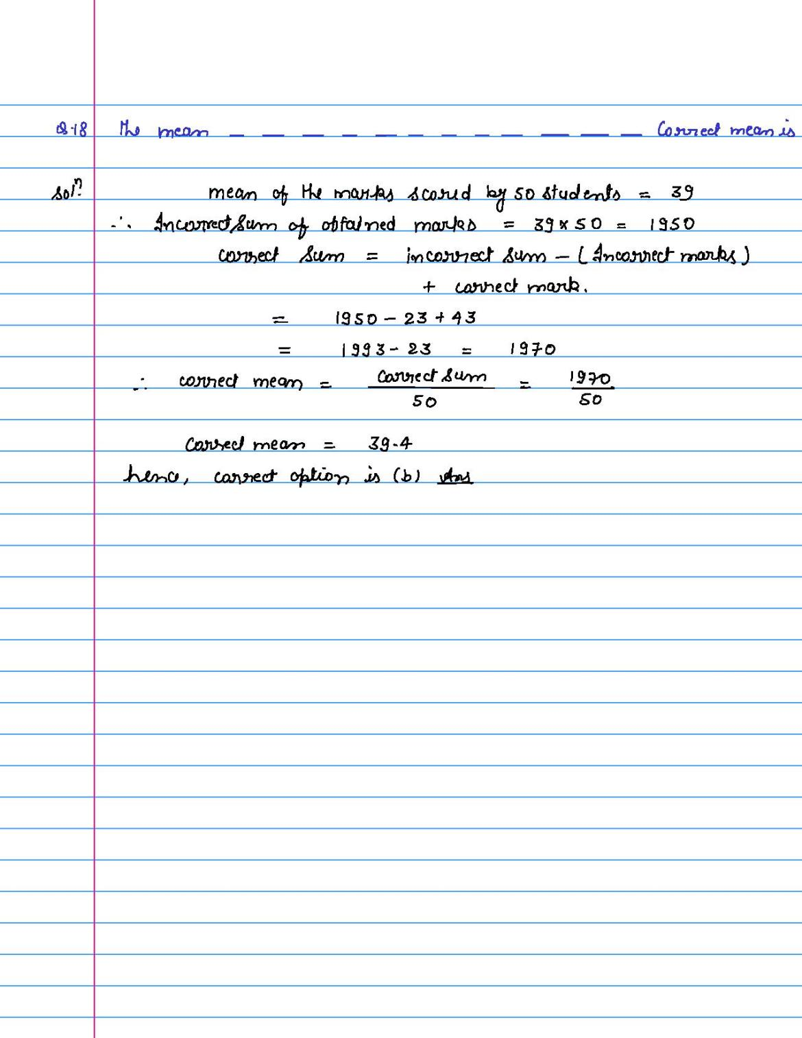 solution of MCQ questions of statistics of class 9th-page-018