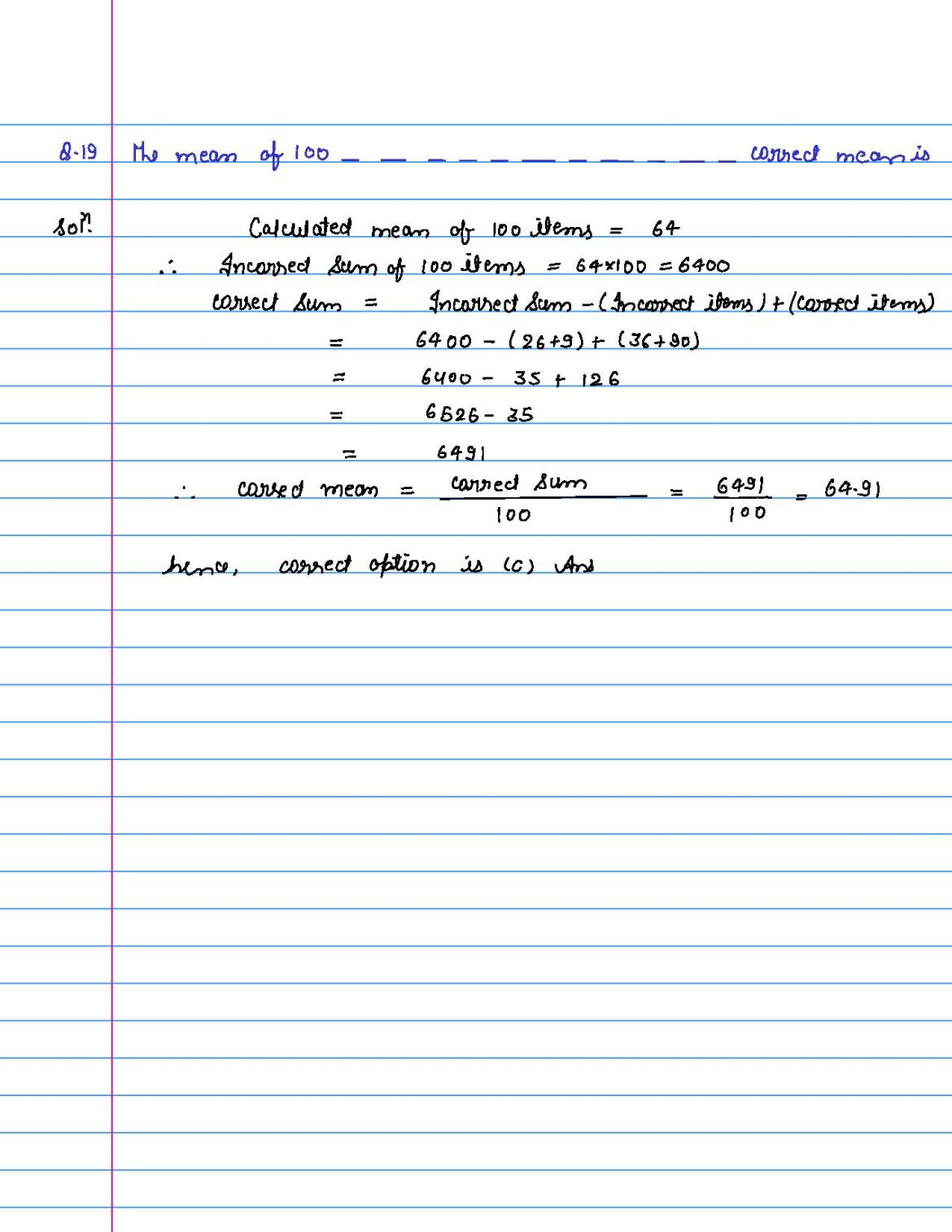 solution of MCQ questions of statistics of class 9th-page-019