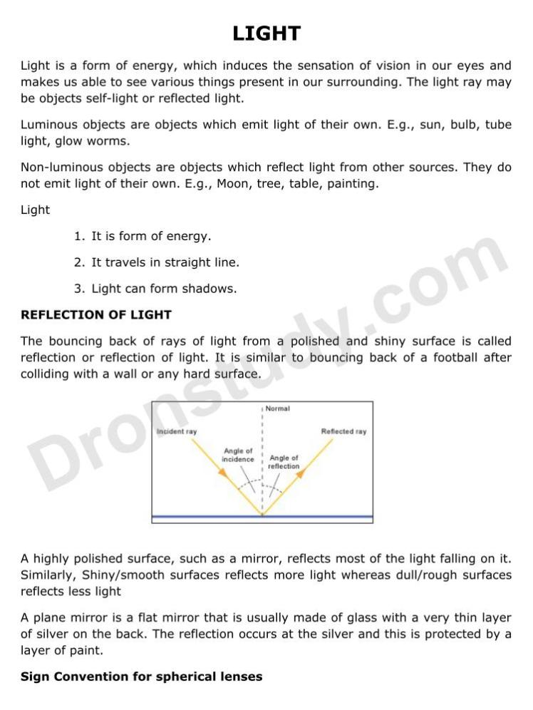 Light : Chapter Notes - DronStudy com