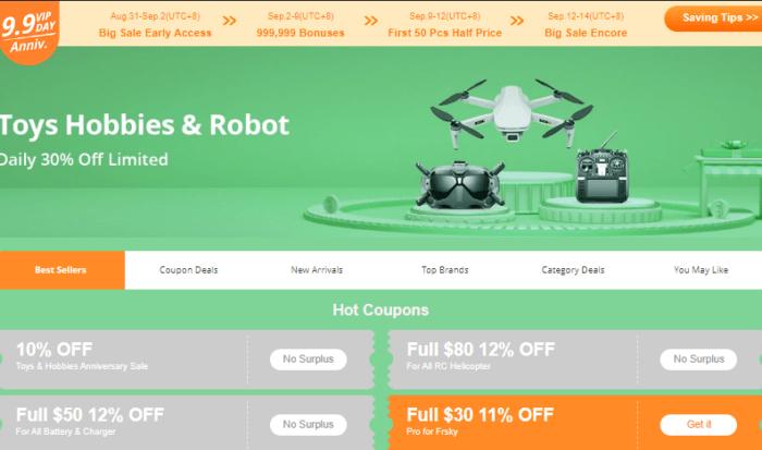 Spousta dronů ve slěvě na Banggoodu