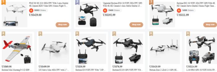 nejprodávanější drony na Banggoodu