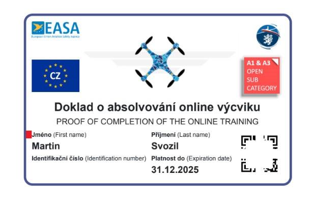 Registrace dronů - doklad o absolvování testu