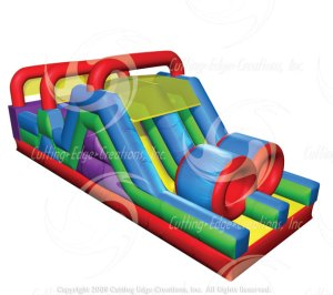 Wacky Mini Obstacle - Bouncer with Inflatable Slide - side view