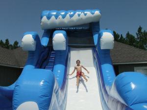 Inflatable indoor/outdoor, wet/dry slide