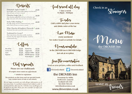 Drovers Inn Menu