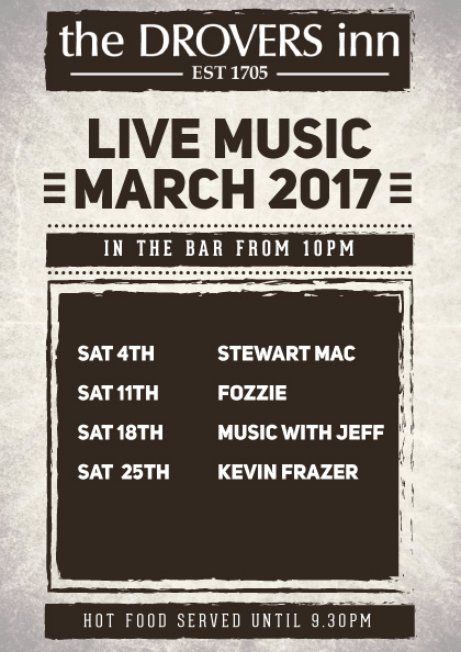 Drovers Inn Live Music March