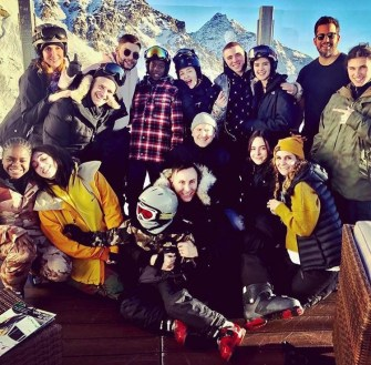Madonna with her whole family in the Swiss Alps