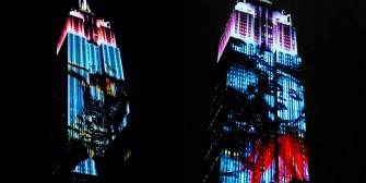 Madonna projected on the Empire State Building to celebrate Harper's Bazaar 150th anniversary