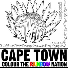 Kirstenbosch Protea and Fynbos- Cape Town: Colour the Rainbow Nation Coloring Book by Pearl R. Lewis