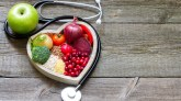 Healthy food in heart and cholesterol diet concept
