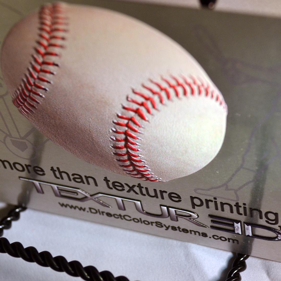 Closeup of a texture-printed baseball design