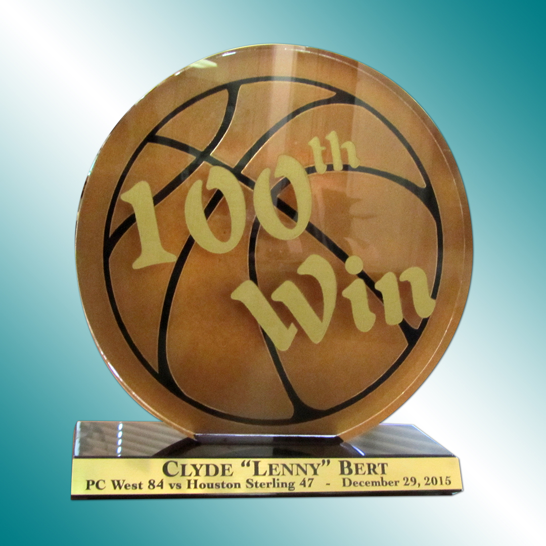 Full color printed 100th basketball win award.