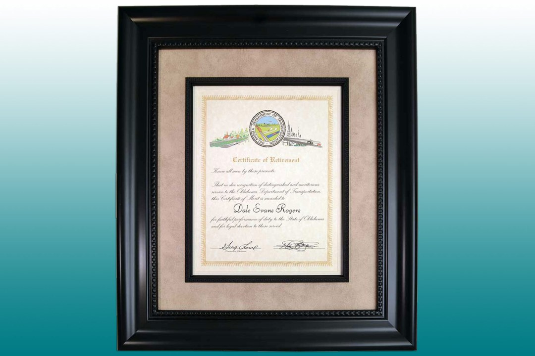Framed Certificate of Retirement
