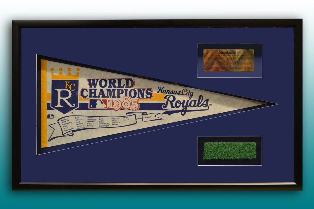 Framed baseball memorabilia