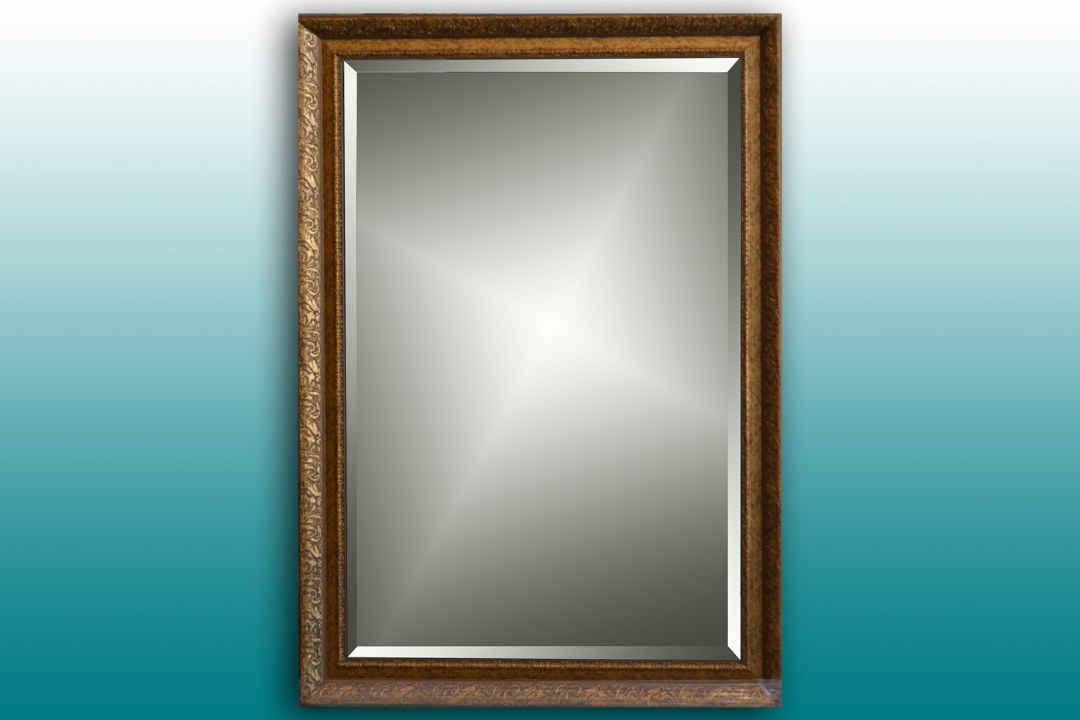 Framed mirror.
