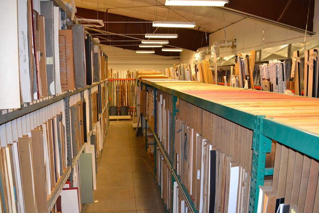 Aisle of several matboards at DRTC Picture Frames.