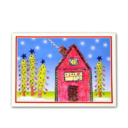 Holiday card design with a house and a dog looking out the window.
