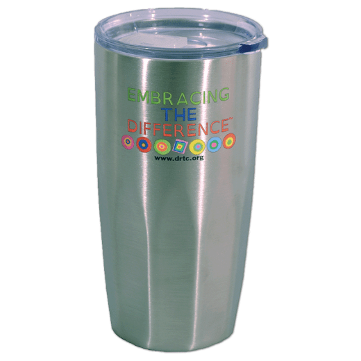 Stainless steel tumbler with DRTC's Embracing the Difference® logo.