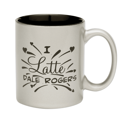 """Silver coffee mug with text """"I latte Dale Rogers."""""""