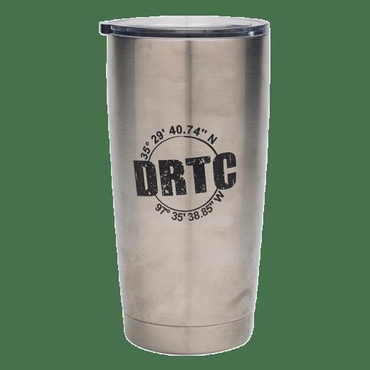 Silver 20 oz tumbler with DRTC's longitude & latitude coordinates.