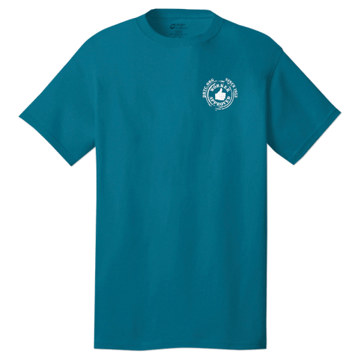 Front of shirt with DRTC's Worker Approved logo on the front left pocket area.