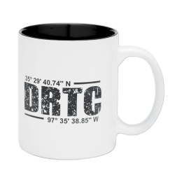 White coffee mug with DRTC's latitude & longitude coordinates