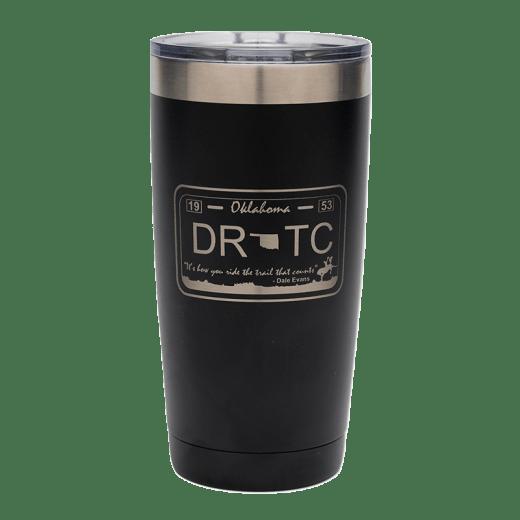Black 20 oz. tumbler with DRTC license plate design.