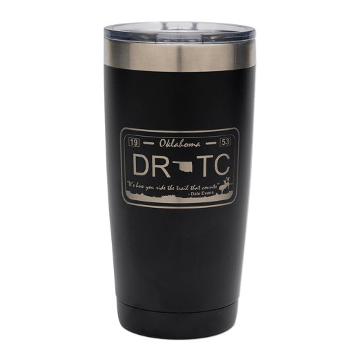 Black 20 oz. tumbler with DRTC license plate design.